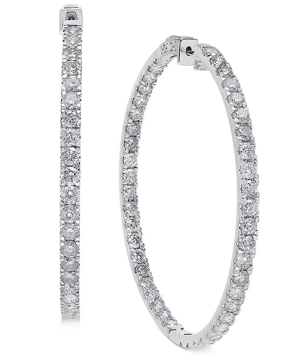 Macy's Diamond Large Inside & Out Hoop Earrings (10 ct. t.w.) in 14k White Gold