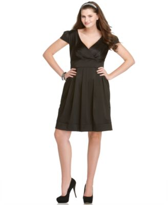 Ruby Rox Plus Size Dress, Cap Sleeve Pleated Empire