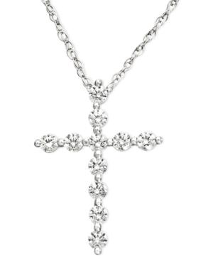 Diamond Necklace, 14k White Gold Diamond Certified Near Colorless Cross Pendant (1/2 ct. t.w.)