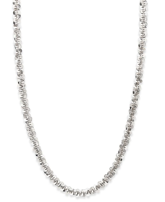 Macy's - 14k White Gold Necklace, Faceted Chain