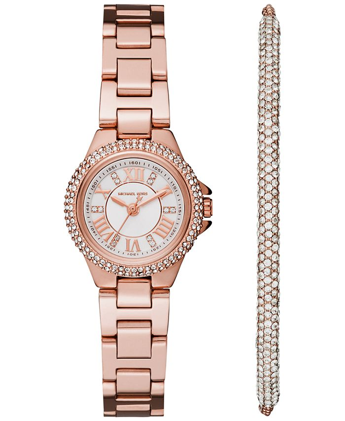 Michael Kors - Women's Petite Camille Stainless Steel Bracelet Watch 26mm Gift Set