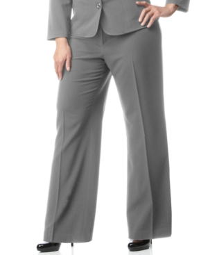 AGB Plus Size Pants, Gray Stretch Suiting