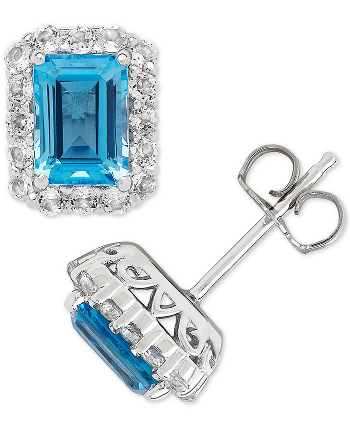 Macy's - Blue Topaz (2-1/3 ct. t.w.) & White Topaz (3/4 ct. t.w.) Stud Earrings in Sterling Silver(Also Available in Amethyst, Garnet, Citrine, and Aquamarine)