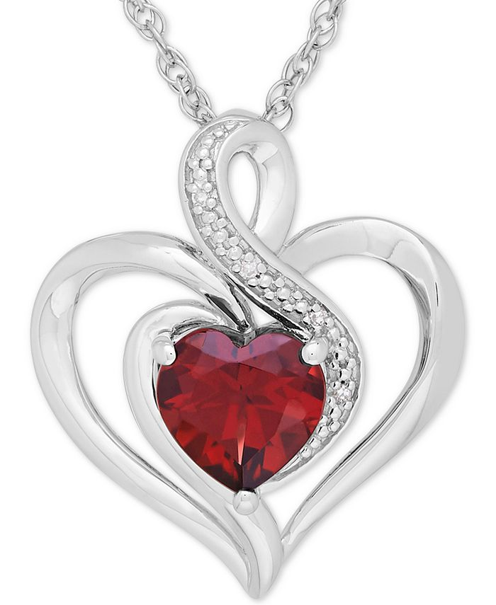 Macy's - Lab-Created Emerald (1-1/8 ct. t.w.) and Diamond Accent Heart Pendant Necklace in Sterling Silver
