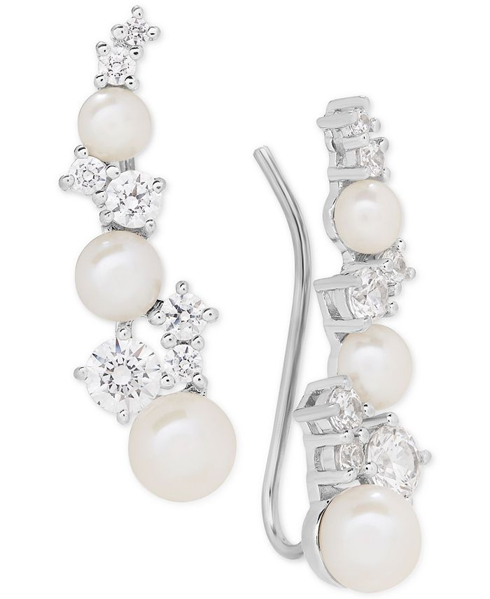 Arabella - Cultured Freshwater Pearl (3-1/2 - 5-1/2mm) & Swarovksi Zirconia Ear Climbers