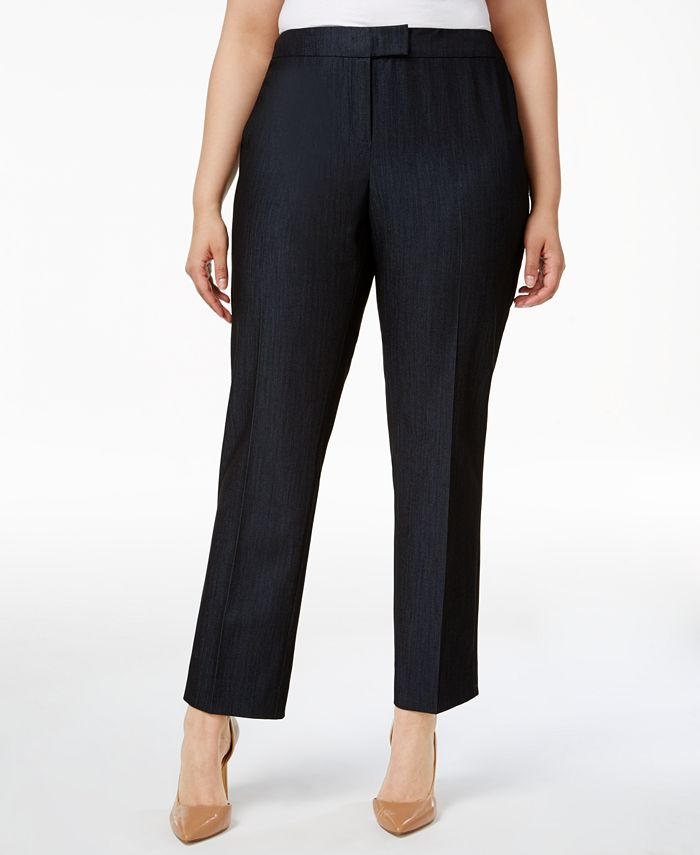 Anne Klein - Plus Size Denim Twill Straight-Leg Pants