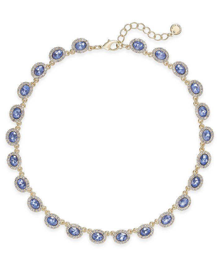 Charter Club - Silver-Tone Pavé & Pink Stone Collar Necklace
