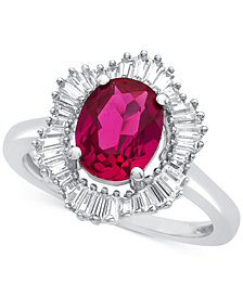 Lab-Created Ruby (1-7/8 ct. t.w.) and White Sapphire (3/4 ct. t.w.) Ring in Sterling Silver