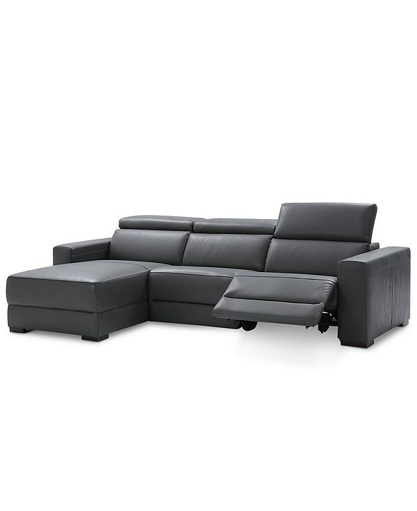 Furniture Nevio 3-pc Leather Sectional Sofa with Chaise, 1 Power Recliner and Articulating Headrests, Created for Macy's