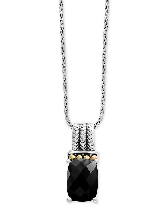 EFFY Collection - Onyx (14 x 10mm) Pendant Necklace in Sterling Silver and 18k Gold