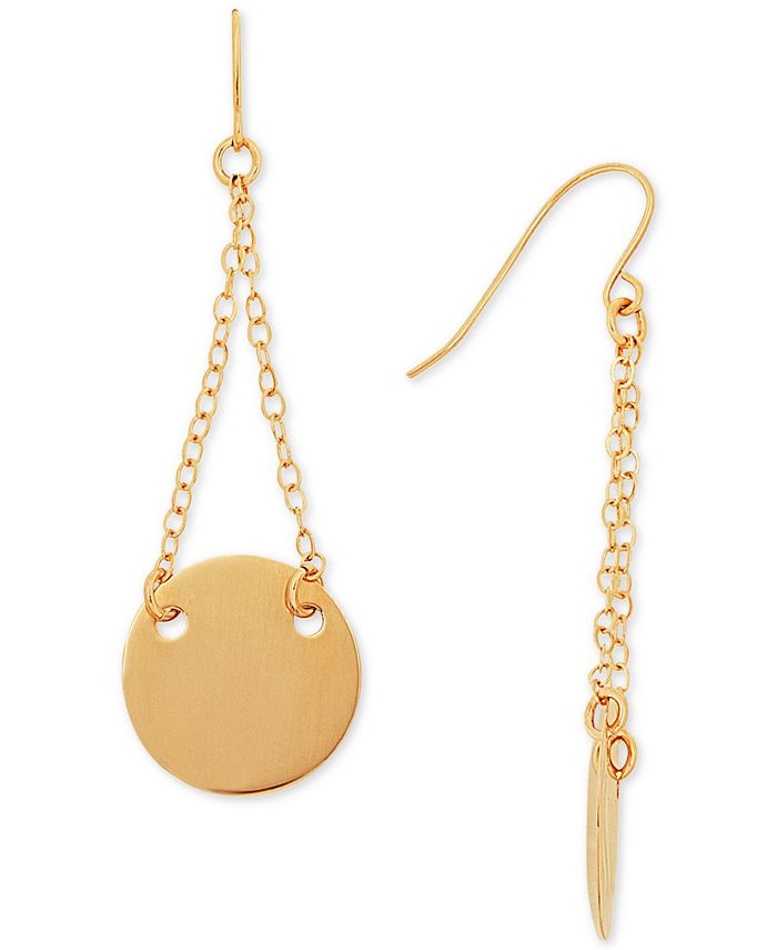 Macy's - Chain and Disc Drop Earrings in 14k Gold