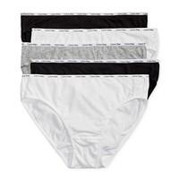 5-Pack Calvin Klein Women's Cotton-Blend Stretch Logo Multipack Bikini Underwear (White,Black, Grey, & Heather)