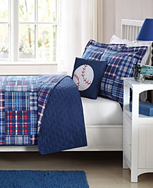 My World Reversible 4-Pc. Navy Plaid Patchwork Full Quilt Set