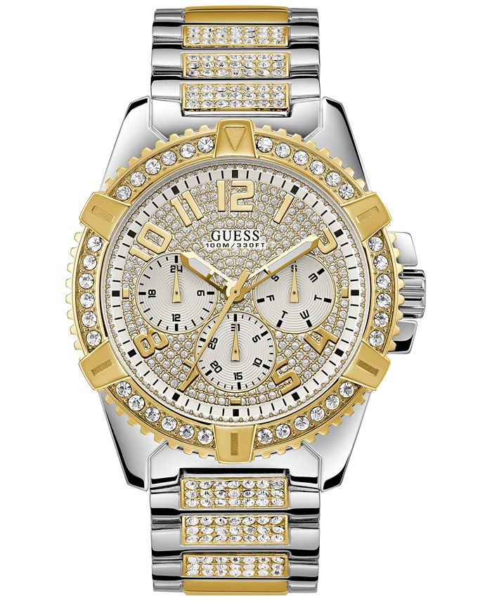 GUESS - Men's Pavé Crystal-Set Two-Tone Bracelet Watch 50mm