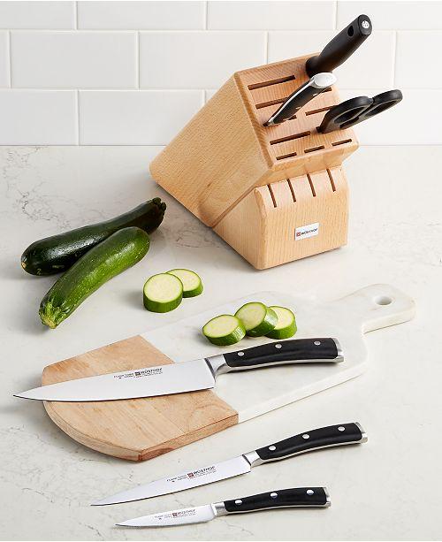 Wusthof Classic Ikon 7 Piece Knife Block Set Reviews Cutlery Knives Kitchen Macy S