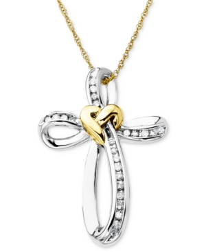14k Gold and Sterling Silver Necklace, Diamond Accent Cross Pendant
