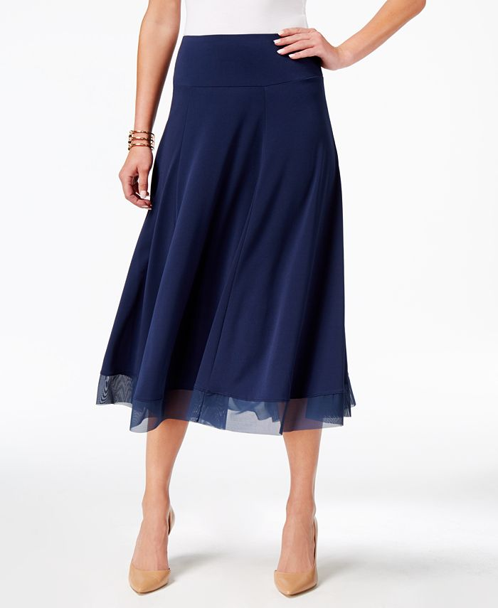 JM Collection - Mesh-Hem A-Line Skirt