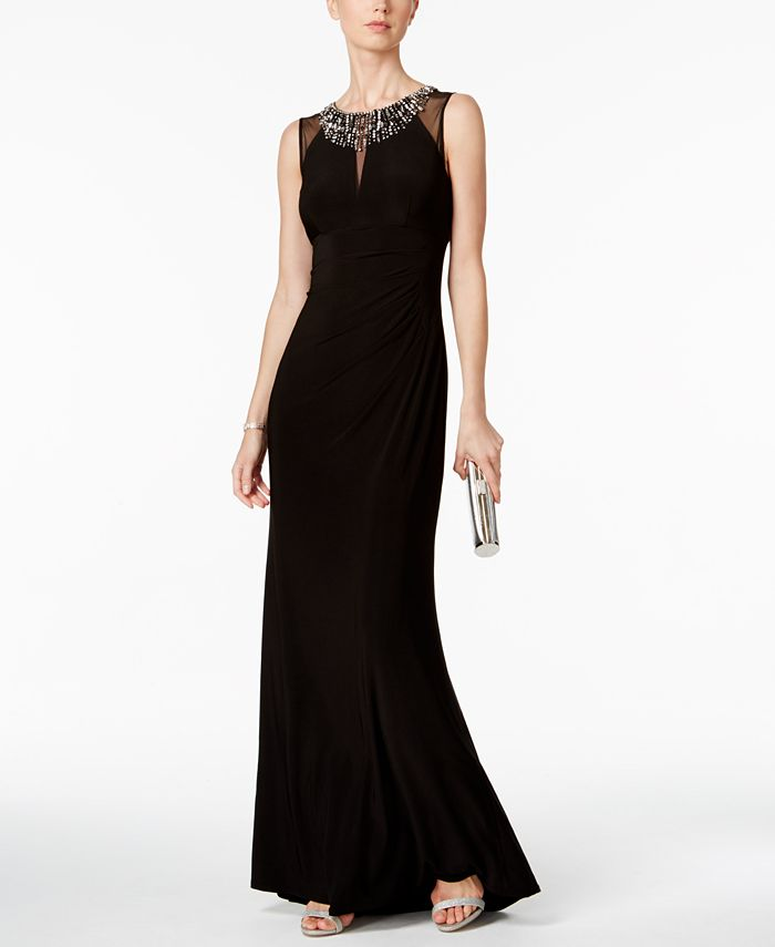 Vince Camuto - Embellished Illusion Column Gown