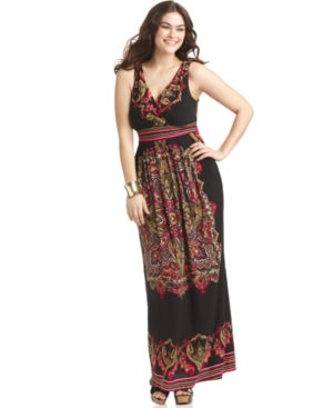 Love Squared Plus Size Dress, Sleeveless Printed Empire Maxi