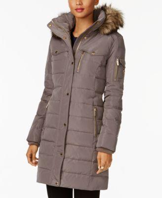MICHAEL Michael Kors Faux-Fur-Trim Puffer Coat