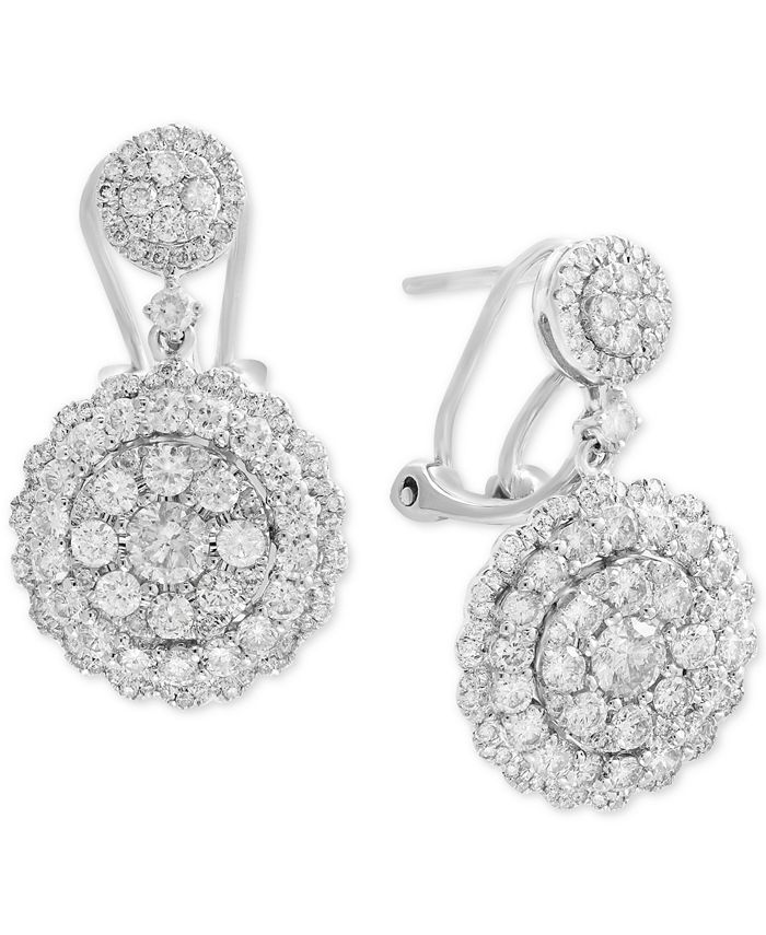 EFFY Collection - Diamond Cluster Drop Earrings (2-1/10 ct. t.w.) in 14k White, Rose, or Yellow Gold