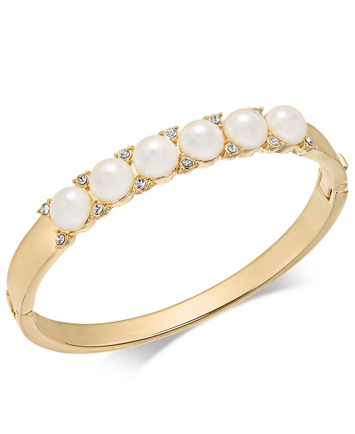 Charter Club - Gold-Tone Pavé & Imitation Pearl Hinged Bangle Bracelet