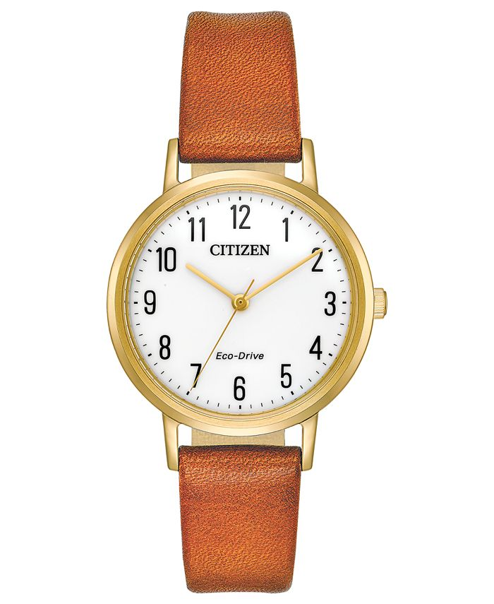 Citizen - Women's Eco-Drive Brown Leather Strap Watch 30mm