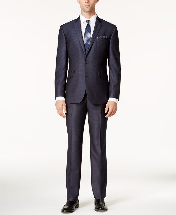 Kenneth Cole Reaction - Men's Slim-Fit Blue Textured Micro-Grid Suit