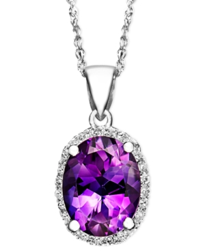 14k White Gold Necklace, Amethyst (1-1/2 ct. t.w.) and Diamond Accent Oval Pendant