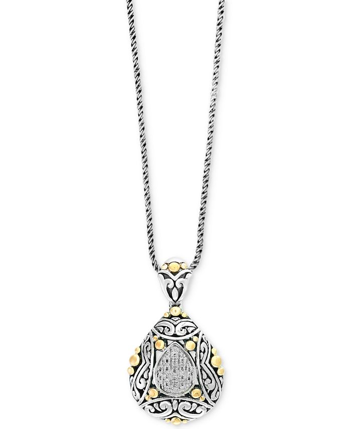 EFFY Collection - Diamond Two-Tone Pendant Necklace (1/10 ct. t.w.) in Sterling Silver and 18k Gold