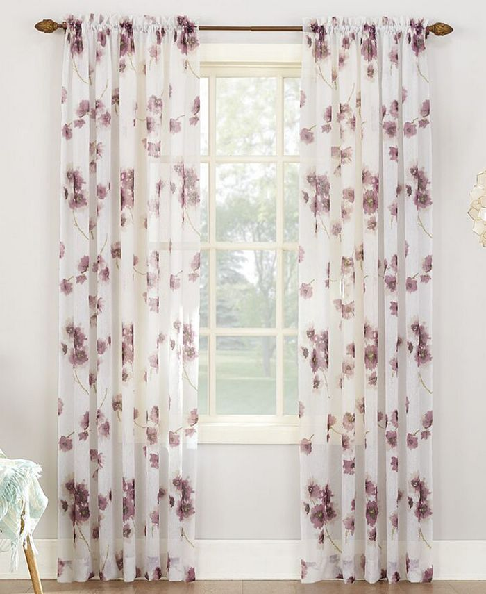 No. 918 - Bimini Textured Floral Sheer Voile Curtain Panel Collection