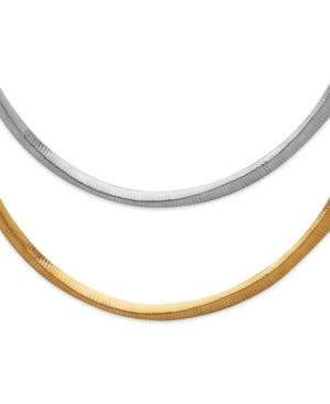 "14k Gold and 14k White Gold Necklace, 18"" Two Tone Reversible Omega Chain"
