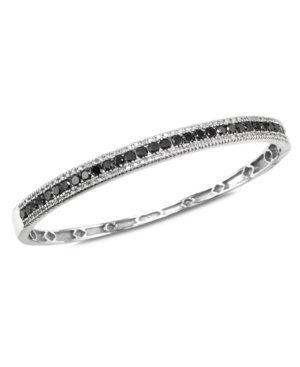 Effy Collection Diamond Bracelet, 14k White Gold Black Diamond (1-3/4 ct. t.w.) and White Diamond (1/3 ct. t.w.) Bangle