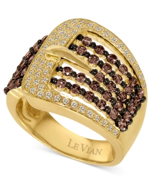 Le Vian Diamond Ring, 14k Gold Chocolate and White Diamond Buckle (1-1/10 ct. t.w.)