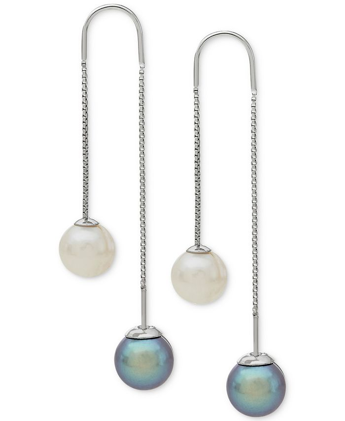 Arabella - Gray and White Cultured Freshwater Pearl (8mm) Threader Earrings in Sterling Silver (Also Available in Blush and White)