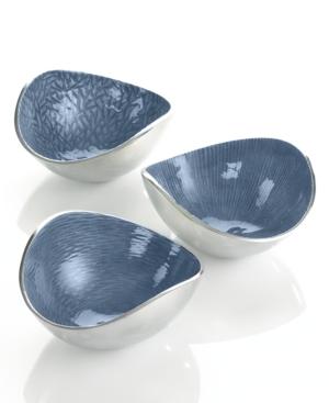 Simply Designz Serveware, Set of 3 Parisian Blue Nut Bowls