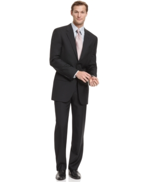 Alfani Suit, Solid Black Trio Suit with Extra Pant