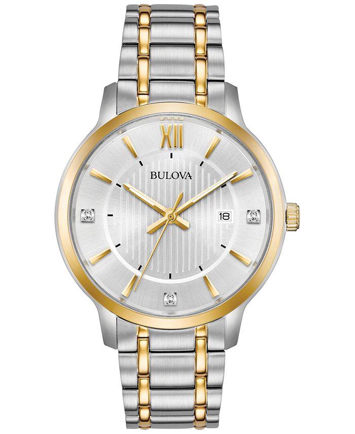 Bulova - Men's Diamond Dress Diamond-Accent Two-Tone Stainless Steel Bracelet Watch 40mm