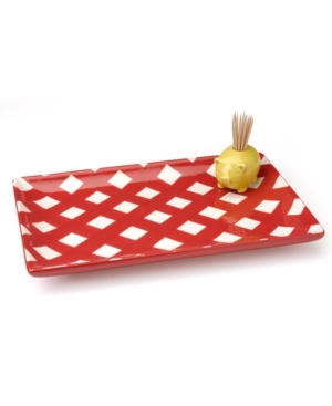 Clay Art Dinnerware, Gingham Barbecue Appetizer Tray With Pig Toothpick Holder
