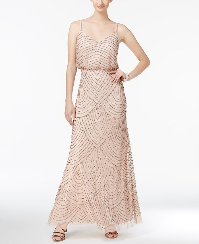Adrianna Papell - Dress, Sleeveless Spaghetti Strap Beaded Blouson Evening Gown