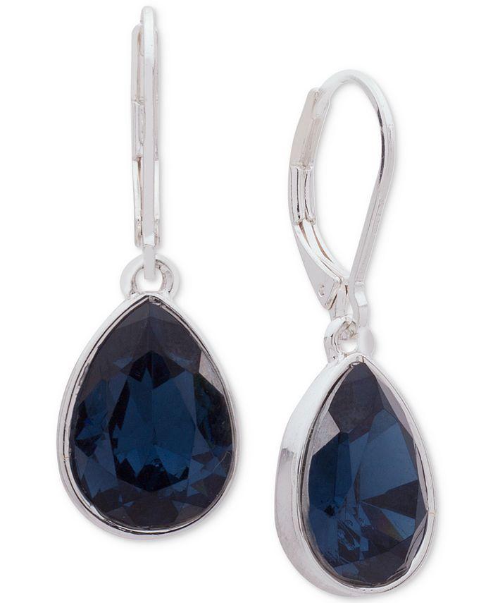 Nine West - Silver-Tone Blue Stone Drop Earrings