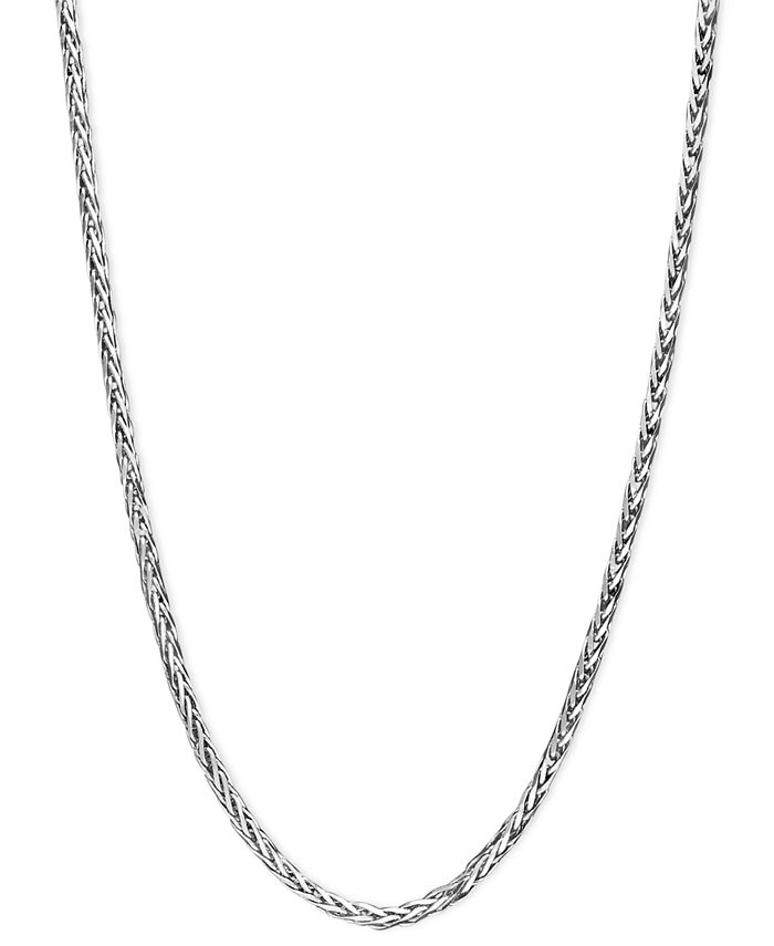 "Macy's - 14k White Gold Necklace, 16"" Diamond Cut Wheat Chain"