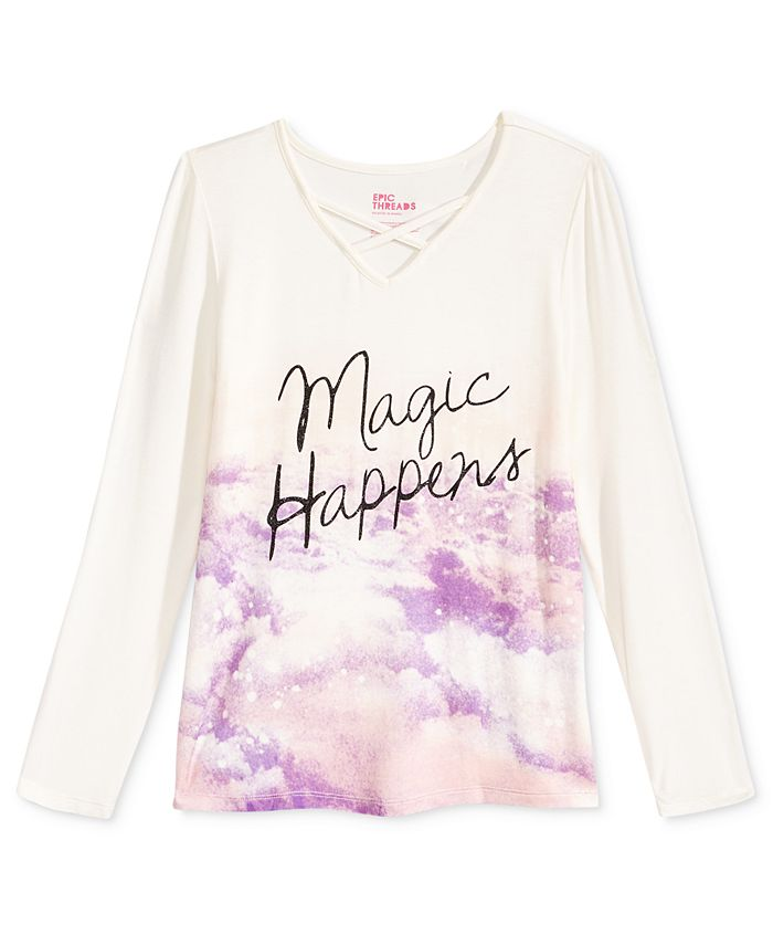Epic Threads - Magic Happens V-Neck T-Shirt, Big Girls (7-16)