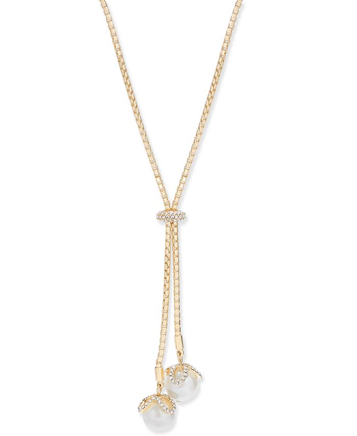 "Charter Club - Silver-Tone Crystal & Imitation Pearl Lariat Necklace, 36"" + 2"" extender"
