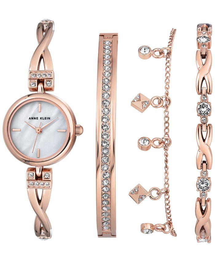 Anne Klein - Women's Rose Gold-Tone Bangle Bracelet Watch 22mm Gift Set