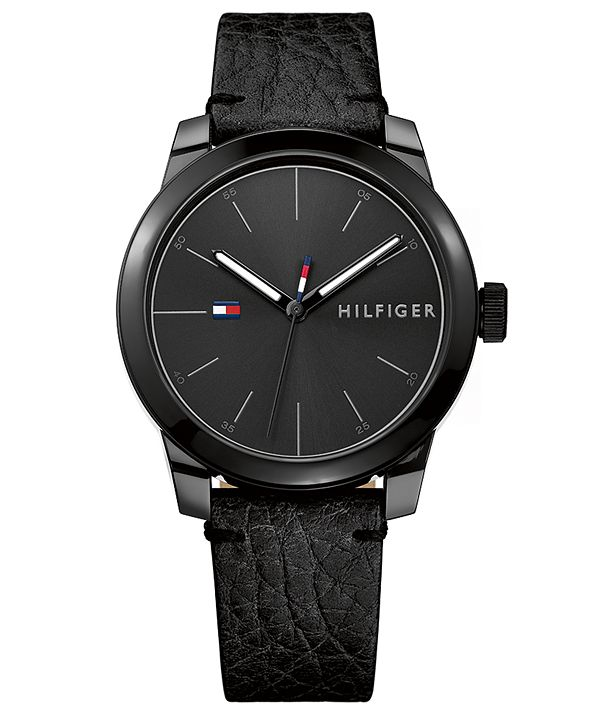 Tommy Hilfiger Tommy Hilfiger Men's Black Leather Strap Watch 42mm, Created for Macy's