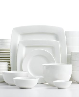 White Elements Dinnerware, Cressida Square 42 Piece Set