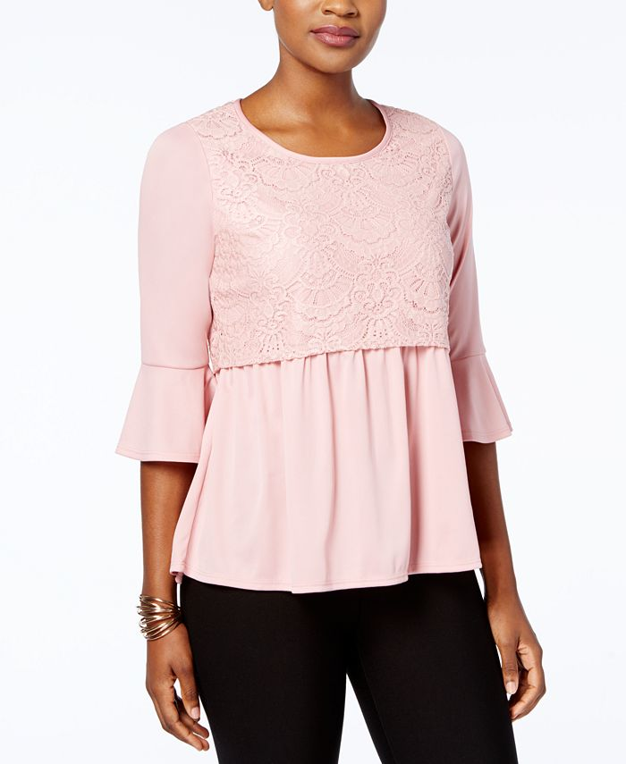 NY Collection - Petite Lace Popover Top