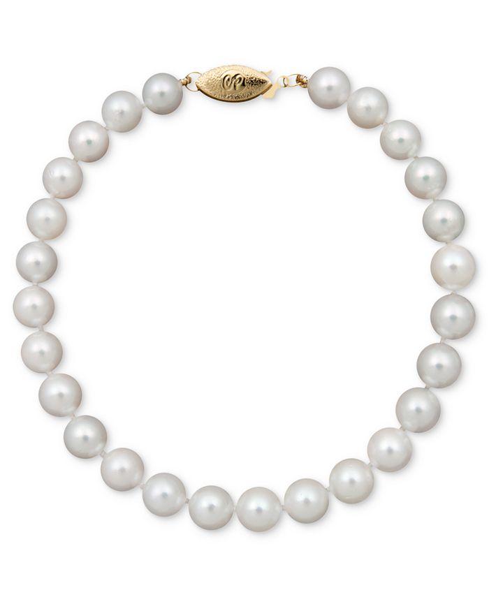 "Belle de Mer - Pearl Bracelet, 7-1/2"" 14k Gold A+ Akoya Cultured Pearl Strand (6-6-1/2mm)"