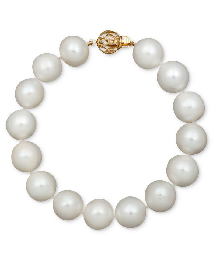 "Belle de Mer - Pearl Bracelet, 7-1/2"" 14k Gold A+ Cultured Freshwater Pearl Strand (11-13mm)"